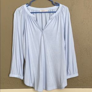 LOST MIXED MEDIA BABY BLUE BLOUSE